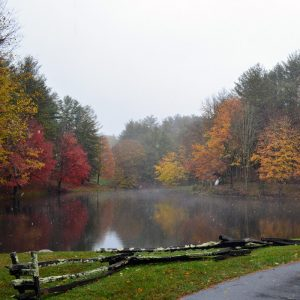 photo of a pond in autumn with surprise snow - water, earth, and air